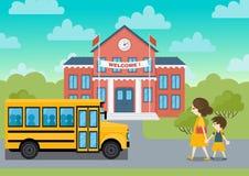 School building and yellow bus schoolchild vector. School building and yellow bus and schoolchild vector  illustration Royalty Free Stock Image