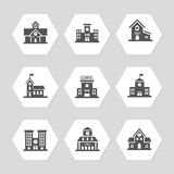 School buildings flat icons collection Royalty Free Stock Photo