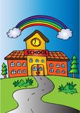School buildings with rainbow. Sketchy style Royalty Free Stock Photography