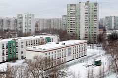 School buildings and residential buildings in district Bibirevo. Royalty Free Stock Photo