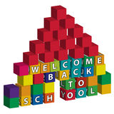 School built of toy blocks. School with a red roof and a doorway built of toy blocks with the inscription Welcome back to school vector illustration