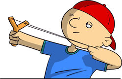 School bully with a slingshot Stock Images