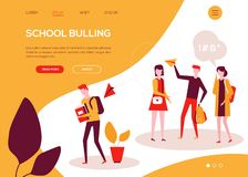 School bullying - colorful flat design style web banner vector illustration