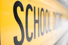 School Bus. Side panel of an American School Bus stock images
