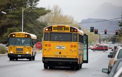 School Bus. Stopping on road to load children Royalty Free Stock Photo