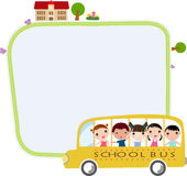 School bus. Illustration of kids and school bus Royalty Free Stock Images