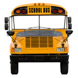 School bus. Yellow school bus isolated on white - front view with isolated windshield area royalty free stock images
