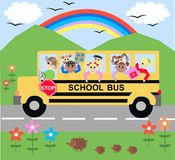 School bus. Illustration of a school bus with lot of children Stock Images