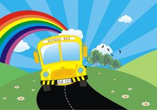 School bus. Llustration of school bus cartoon with rainbow in the sky Royalty Free Stock Photography