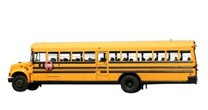 School bus. Side view of school bus with clipping path royalty free stock images