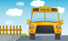School bus. Illustration of a school bus on road Royalty Free Stock Image