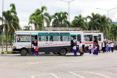 School bus. Student back to school. After Excursions at royal flora, chiang mai Stock Photo
