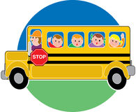School Bus. Children in a bus riding to school Stock Image