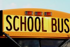 School Bus 3. Close up of text on School Bus stock image