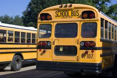 School Bus. View of American school bus from rear Stock Image