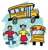 School Bus. Kids and school bus Boy and Girl Stock Image