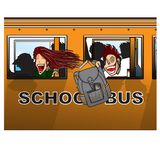 School bus. Tow kids riding a school bus on there way back to school Royalty Free Stock Photo