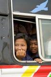 School Bus. Full of happy asian children Stock Images