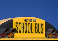School bus. Close-up of the back of a school bus Stock Photo