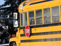 School Bus. In Canada during the winter Stock Image