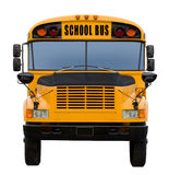 School bus. Yellow school bus isolated on white - front view royalty free stock image