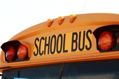 School Bus. The front of a yellow school bus showing the school bus sign Royalty Free Stock Photography