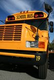 School Bus. A public school bus with a deep blue sky in the background royalty free stock photo