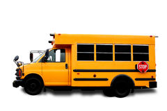 School Bus. A yellow isolated school bus on white Royalty Free Stock Image