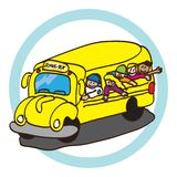 School bus. Vector illustration yellow color with happy students kids isolated over white background Royalty Free Stock Image