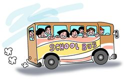 School bus. Funny colourful line cartoon Royalty Free Stock Photography