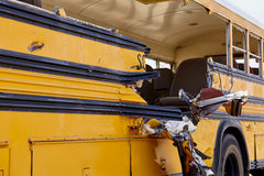 School Bus accident collision damage EMS Response Royalty Free Stock Photo