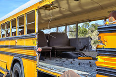 School Bus accident collision damage evacuation Royalty Free Stock Images