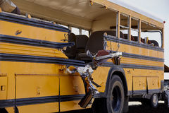 School Bus accident collision damages EMS Response Royalty Free Stock Photo