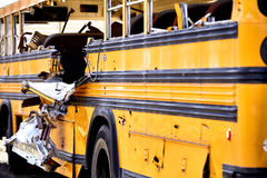 School Bus accident damage EMS Fire response Royalty Free Stock Image