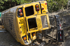 School bus in accident Stock Photo