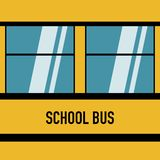 School bus american blue windows flat design vector illustration