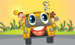 A school bus with animals Royalty Free Stock Photo