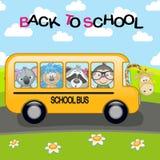 School Bus. Сartoon school bus with animals Royalty Free Stock Photos