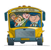 School bus. Bad children and the driver of the school bus ride Royalty Free Stock Photos