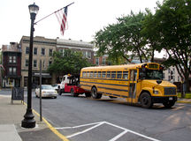 School Bus Being Towed Royalty Free Stock Images