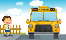 School bus and boy. Illustration of school bus and boy Stock Photography
