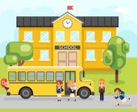 School bus boy girls pupil education building student knowledge child flat design vector illustration. School bus boy girls education pupil building student stock illustration