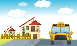 A school bus and building Royalty Free Stock Images