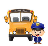 School bus and bus driver illustration Stock Photos