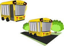 school bus and bush on the road vector illustration