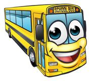 School Bus Cartoon Character Mascot Royalty Free Stock Photo