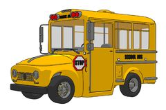 School bus cartoon illustration isolated on white background royalty free illustration