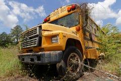 School bus cemetery amont the trees Stock Photos