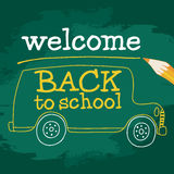 School bus On Chalkboard. School bus in vector On Chalkboard. Back to School! Naive, a child's drawing of the bus. Suitable for postcards, posters and other Royalty Free Stock Photography
