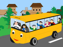 School bus children. Children in a bus going to outdoor Stock Images